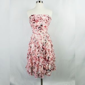 White House Black Market Pink Floral Ruffled Dress